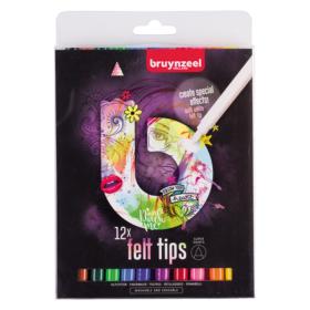 Bruynzeel B Felt Tips Pink – Tusjsett 12stk