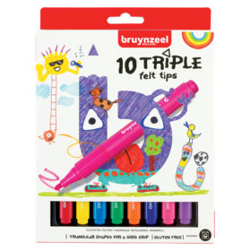 Bruynzeel KIDS – Triple Felt Tips-tusjer 10stk