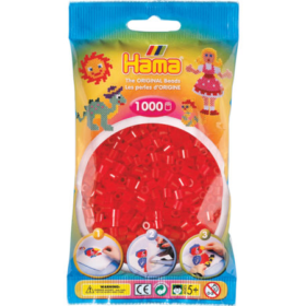 Hama midi 1000stk - 13 transparent rød