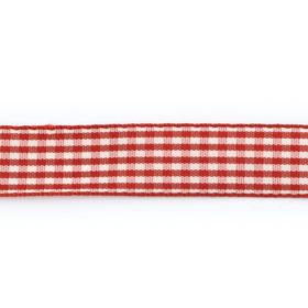 Bånd rutet 15mm 10m – Mørk rød
