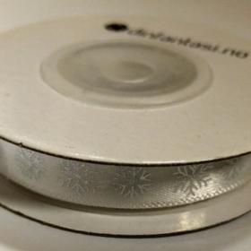Bånd 9,5mm 10m – sølv snøkrystall på hvit
