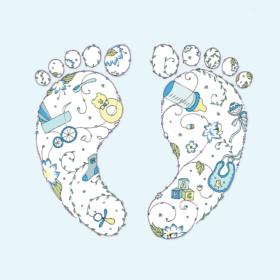 Dobbelt kort - Baby Boy Feet
