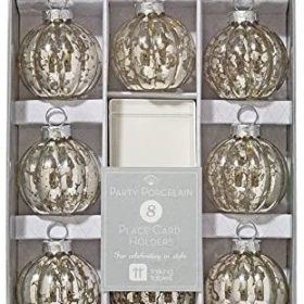 Party Porcelain - place card holders silver 8stk