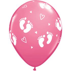 Ballonger - Baby Footprints & Hearts pink