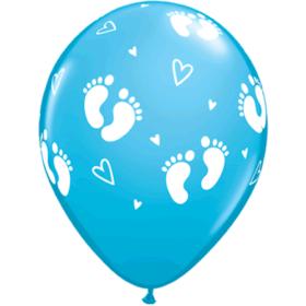 Ballonger - Baby Footprints & Hearts blue