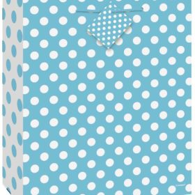 Giftbag L powder blue dots