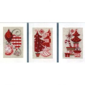 Broderisett kort 3stk - Christmas motifs