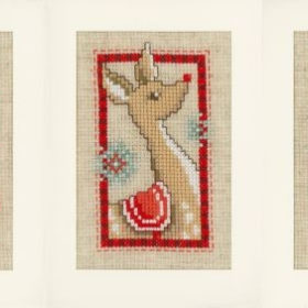 Broderisett kort 3stk - modern Christmas symbols