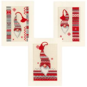 Broderisett kort 3stk - Christmas elf