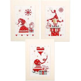 Broderisett kort 3stk - Christmas gnomes