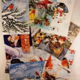 Enkle postkort 10stk - jul