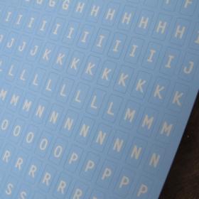 alfabet lys blå
