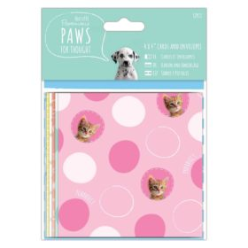 "4"" cards & envelopes - paws"