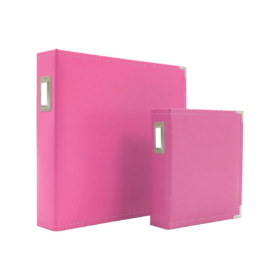 "Sn@p! Leather Binder 6""x 8"" , pink"