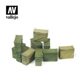 Vallejo Scenics - Large Ammo Boxes 12,7mm. 10stk