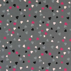 Jersey print 145cm - hearts grey