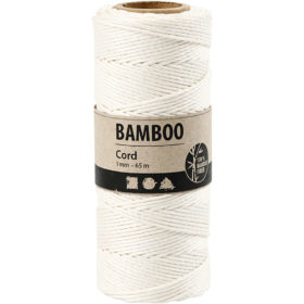 Bambussnor, 1mm, 65m - Hvit