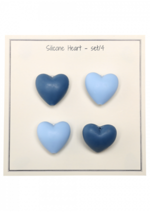 Silicone beads Hearts - blåmix 4stk