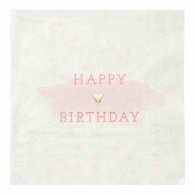 We Love Pink - napkin happy birthday pink