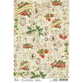 Ciao Bella Rice Paper A4 - country strawberries